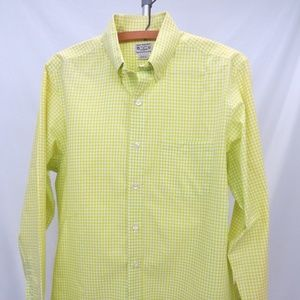 J Crew Men's LS Cotton Yellow Check Casual Shirt